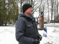 Eesti Vabariigi 103. aastapäeval Julius Friedrich Seljamaa monumendi juures. Foto: Urmas Saard / Külauudised