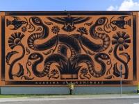 """Ingmar Järve """"Ussikuningas"""" Kadrina spordihoone seinal. Foto: Ingmar Järve"""