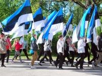 Lipu päeva pidulik rivistus Sindi noortekeskuse juures