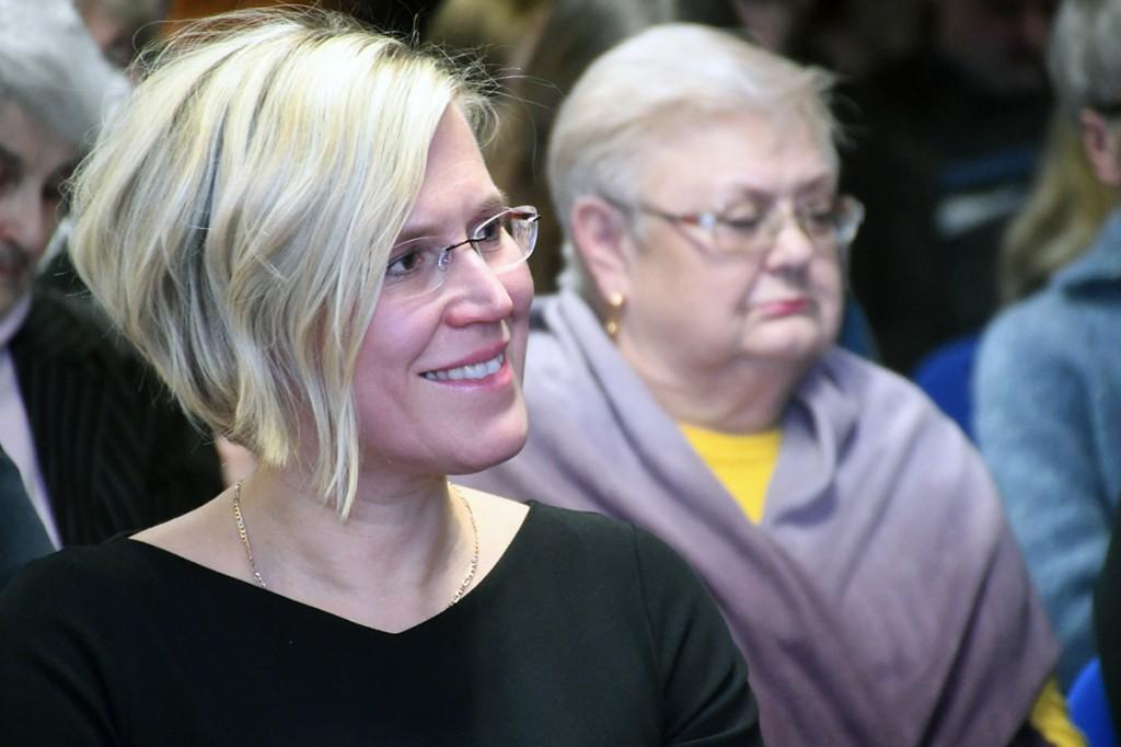 Õiguskantsler Ülle Madise emakeelepäeval Rahvusraamatukogus. Foto Urmas Saard