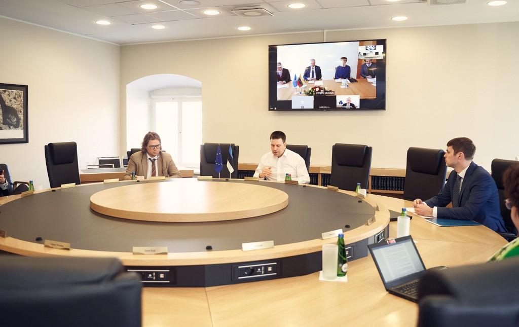 Eesti, Läti ja Leedu peaministrite videokohtumine. Foto: Henri-Kristian Kirsip