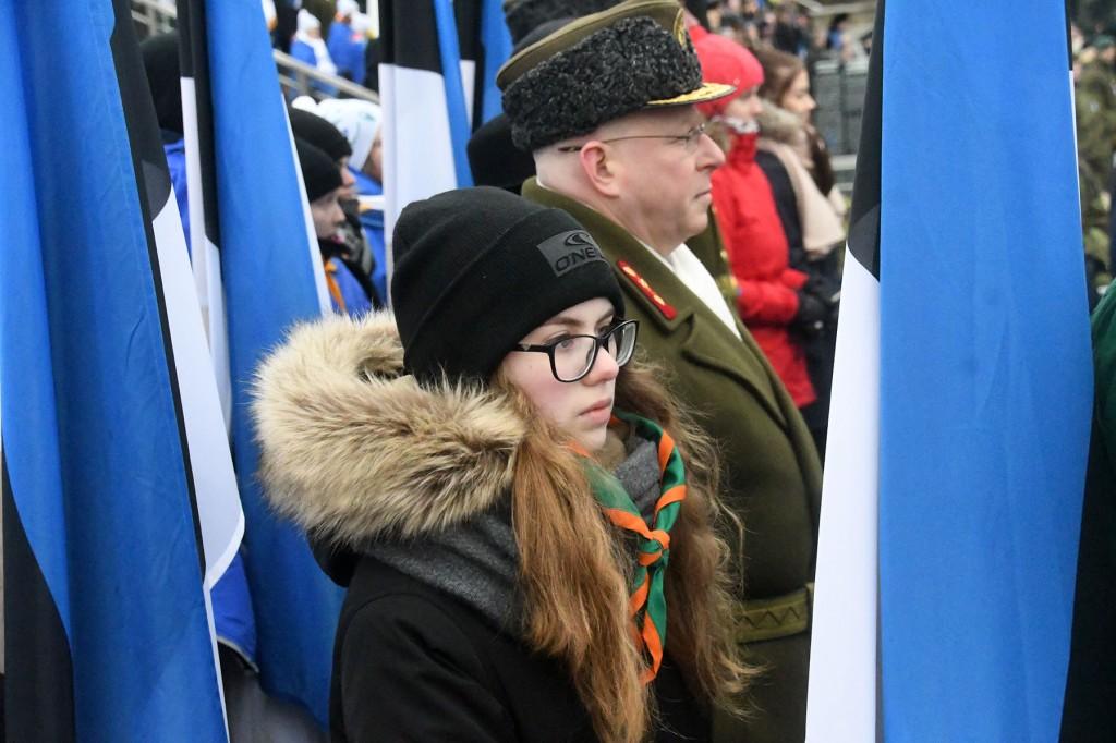 Eesti Vabariigi 101. aastapäeva paraad Tallinnas Vabaduse väljakul. Foto Urmas Saard