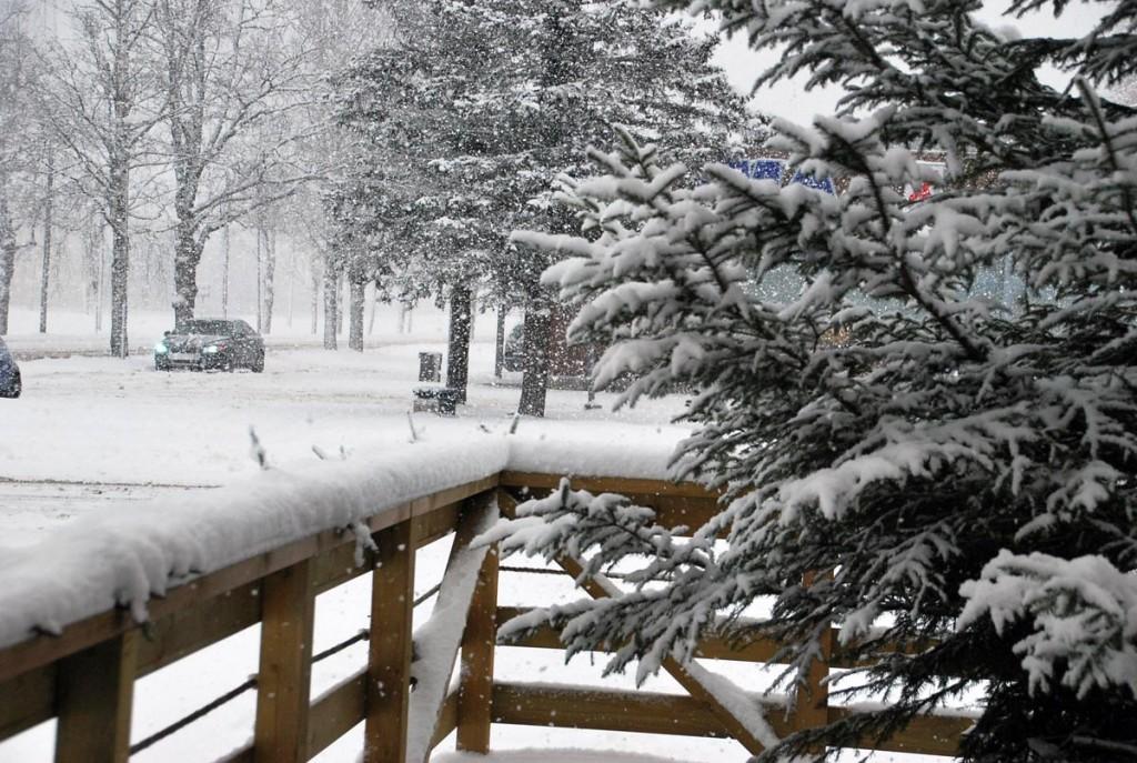Keskpäevane lumesadu Sindi linnas 2014 aasta 27 detsembril Foto Urmas Saard