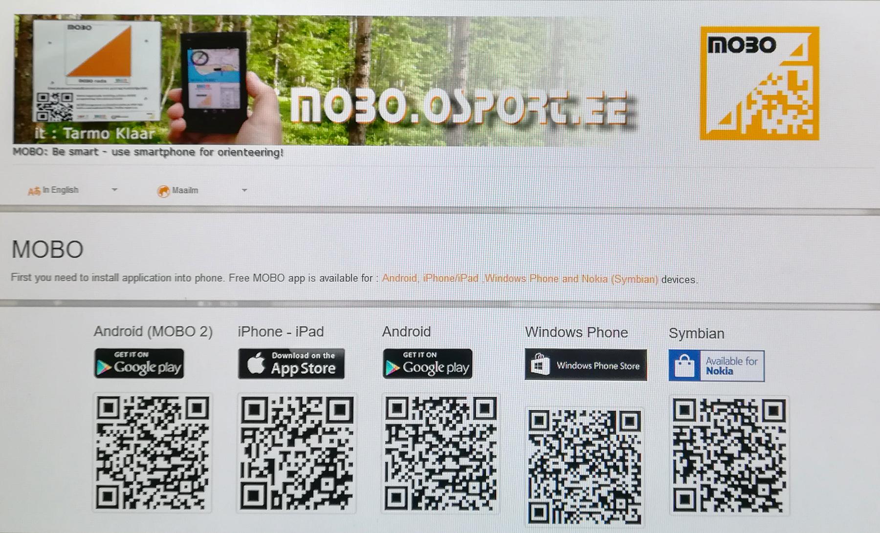 MOBO rakendus, kuvatõmmis kodulehelt