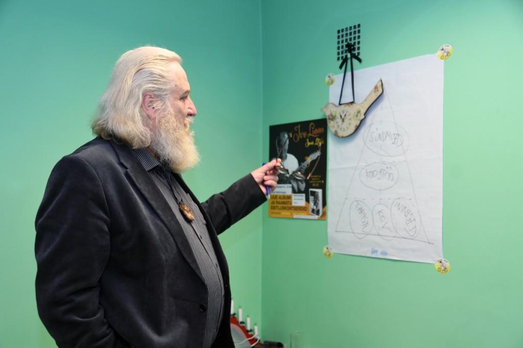Mart Tõnismäe on seinale tähistanud olulisemad pidepunktid Foto Urmas Saard