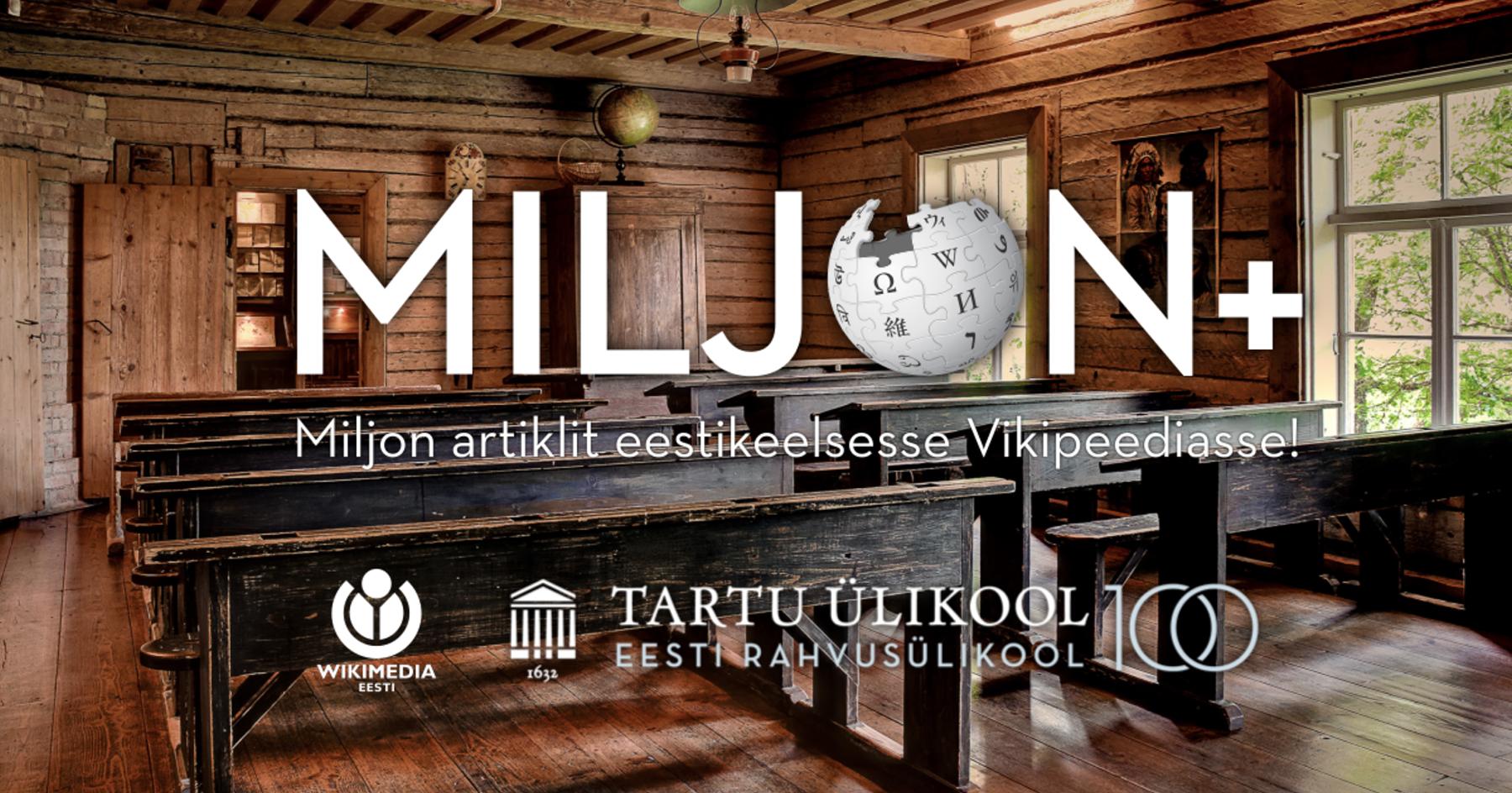 Miljon artiklit eestikeelsesse Vikipeediasse. Algse pildi autor on Rauno Kalda