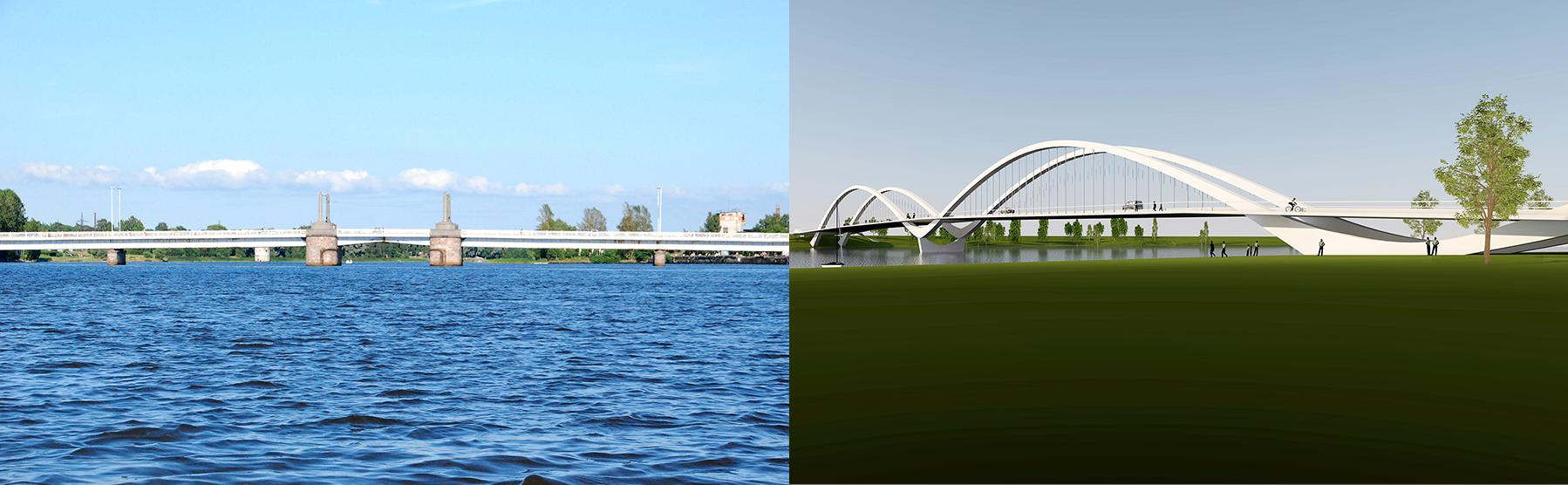 Pärnu Kesklinna sild ja Pärnu kesklinna kavandatava uue autosilla võistlustöö võidutöö Luik 3D visuaal. Foto: Urmas Saard  / Külauudised