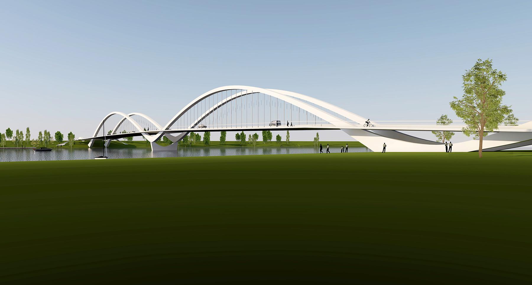Pärnu kesklinna kavandatava uue autosilla võistlustöö võidutöö Luik 3D visuaal
