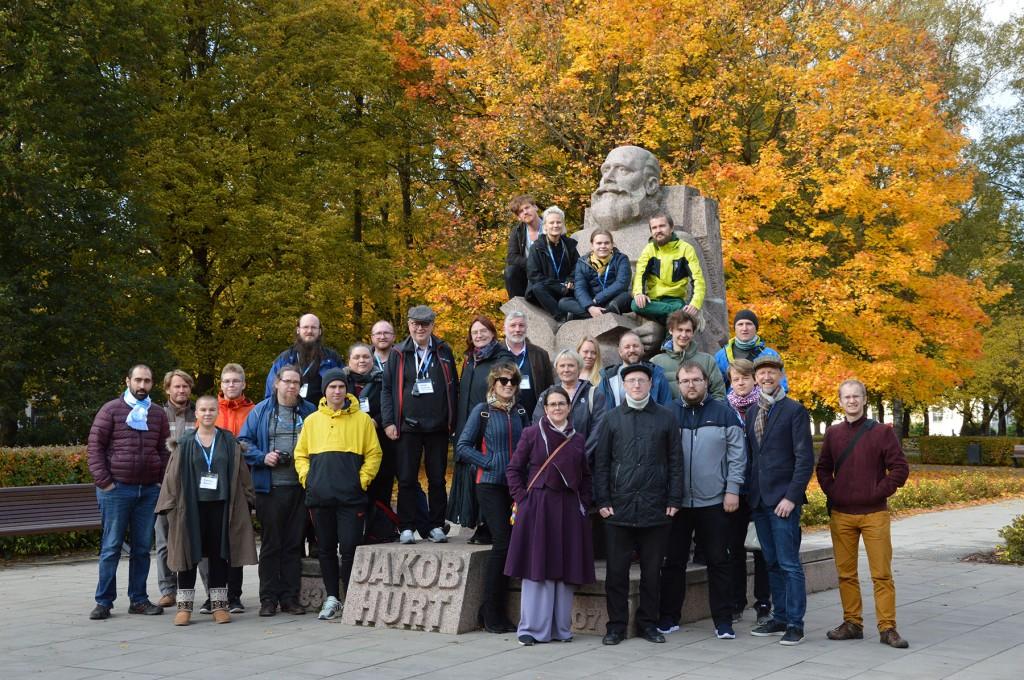 Põhjamaade viki-liikumise 2019. aasta koostöökonverentsil osalejad. Foto Ivo Kruusamägi ja Vahur Puik