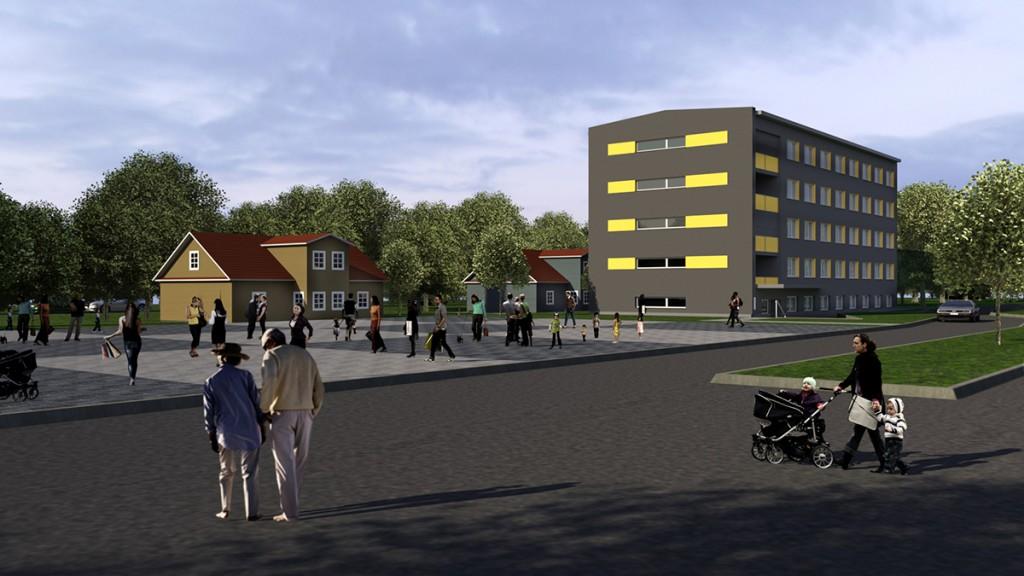 Pilt ruumilisest visioonist Pärnu maantee 27a sotsiaalmajast koos ümbrusega