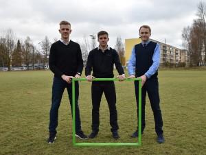 Kampaania eestvedajad Sepa jalgpallikeskuse eestvedajad Kaarel Kiidron, Kristjan Tiirik ja Kalle Paas (FOTO: Imre Pühvel / JK Tammeka)