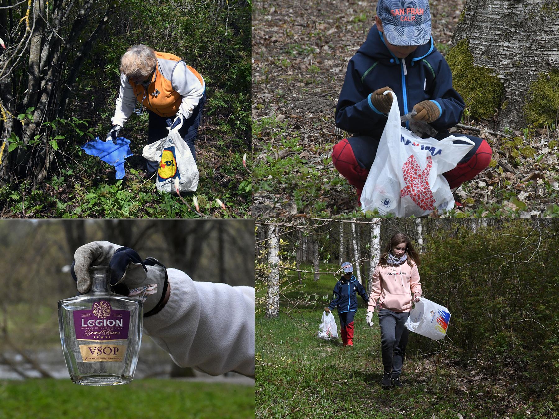 Sirje Soovik puhastab lastega Sindi parki. Fotod: Urmas Saard  / Külauudised