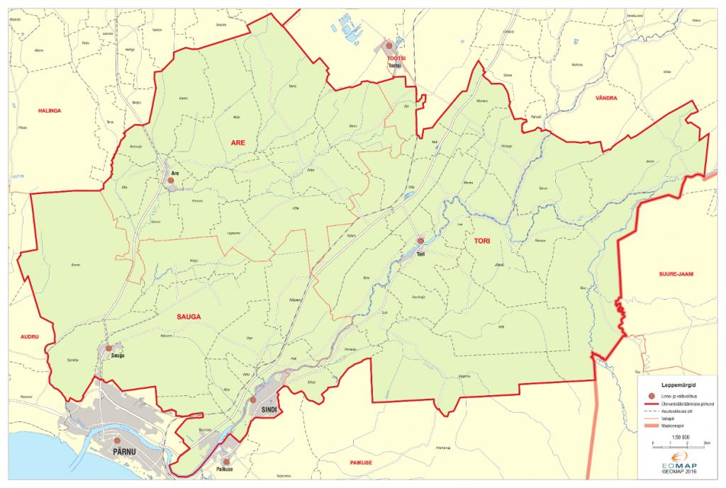 Uue Tori valla kaart nelja ühinenud omavalitsuse piirides