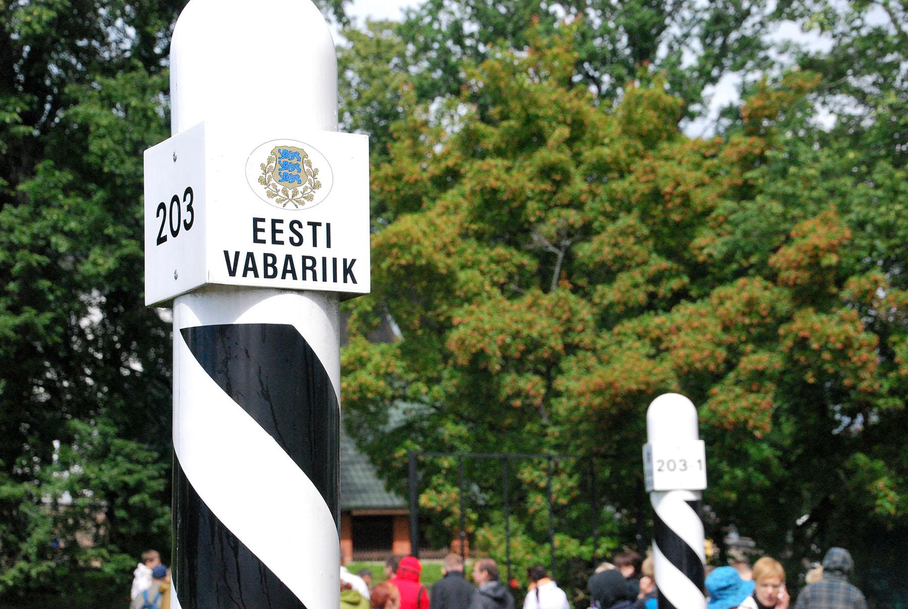 Valga ja Valka vahel asuv piiritulp. Foto: Urmas Saard  / Külauudised