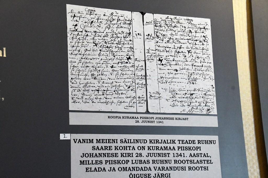 Vanim kirjalik ürik (koopia) Ruhnu asustamise kohta Foto Urmas Saard