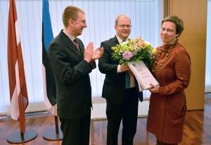 Tänavune Eesti-Läti tõlkeauhinna võitja on Maima Grīnberga. Foto: välisministeeriumi pressibüroo